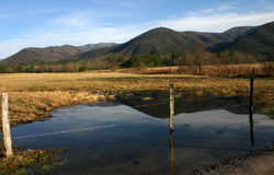 Water reflections. Reflection of Great Smoky Mountains in water in Cades Cove stock photos
