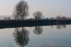 Water reflections. In the calm of morning you have two world Stock Photography