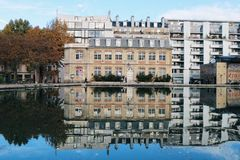 Water reflections on the Canal. Canal Saint Martin Royalty Free Stock Photos
