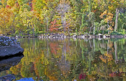 Water reflections of fall leaves in the Smokies. Royalty Free Stock Image