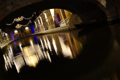 Water reflections by night Stock Photography