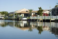 Water ReflectionTropical Homes and Boat Docks stock images