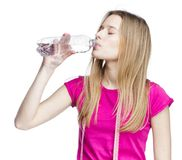 Water refreshing after training Royalty Free Stock Images