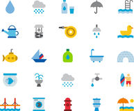 WATER RELATED colored flat icons Royalty Free Stock Image