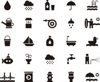 Water related flat glyph web icons Royalty Free Stock Photography