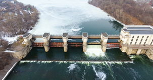 Water release from dam. Aerial view from copter, drone. stock footage