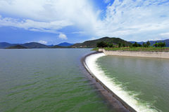 Water release at dam wall. Water release at MaeKoung Udomtara dam wall Royalty Free Stock Images