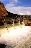 Water release at dam wall. After heavy rains Royalty Free Stock Image