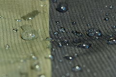 Water repel textile material. Detail of  water repel textile material, green and black, shallow depth of field Royalty Free Stock Photos