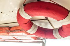 Water rescue equipment or water ring rescue and Lifebuoy. On the boat with red and white color use for rescue accident Royalty Free Stock Photo