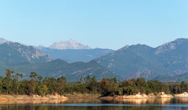 Water reservoir in eastern plain  of Corsica island Royalty Free Stock Photo