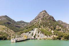 Water reservoir of El Chorro, Alora, Spain Stock Photos
