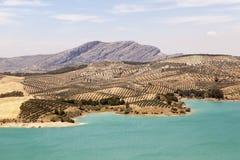 Water reservoir of El Chorro, Alora, Spain Royalty Free Stock Photo