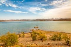 Water reservoir El Mansour Eddahbi near Ouarzazate, Morocco Royalty Free Stock Photos