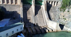 Water reservoir and hydroelectric power generating detail. Water reservoir and hydroelectric power generating station in Spain. Horizontal composition stock photos