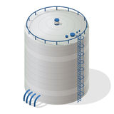 Water reservoir isometric building info graphic. Big water reservoir supply. Stock Photo