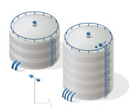 Water reservoir isometric building info graphic. Big water reservoir supply. Stock Photos