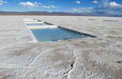 Water reservoir on salar. Lake, flat plaine covered with white salt and blue water. Mountains on horizont. Uyuni Salar, Bolivia. Altiplano in South America Royalty Free Stock Photo