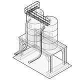 Water reservoir supply outline. Water reservoir isometric building info graphic. Royalty Free Stock Photos