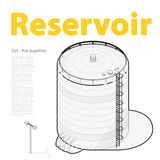Water reservoir supply outline. Water reservoir isometric building info graphic. Royalty Free Stock Photography