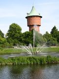Water reservoir tower. And fountain in Cuxhaven, Germany Royalty Free Stock Images