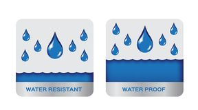 Free Water Resistant And Proof Logo , Icon . Blue Version Stock Photo - 104573400