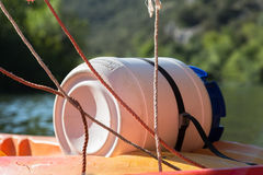 Water Resistant Barrel during River Canoeing and Kayaking and Ropes Stock Photo