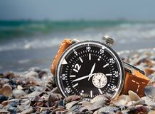 Water resistant watch. On a sea coast Stock Photos