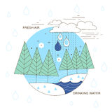 Water resource in thin line style Royalty Free Stock Photo