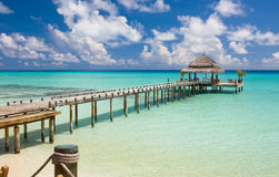 Water restaurant - ocean and sky view, Maldives Royalty Free Stock Images