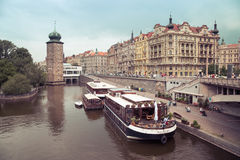 Water restaurant in prague Royalty Free Stock Photography