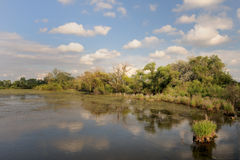 Water retention pond landscape Stock Image