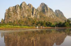 Water in rice field and mountain, Thailand. Stock Photo