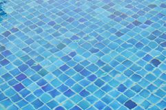 Water rippled in blue tile swimming pool stock image