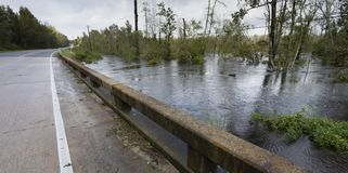 Water rising after Hurricane Florence. Water from Hurricane Florence rising under a bridge near Fayetteville North Carolina royalty free stock photography