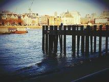 Water river Thames city centre symbol london bridge. Molo wooden architecture object city centre Stock Photos