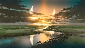 Water road in colorful rustic place. Beautiful scenery of water road in colorful rustic place against black clouds and crescent moon in the sky, digital art royalty free illustration