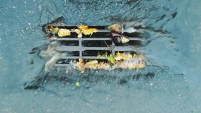 Water from the road drains into the storm drain sewer collector with grate during the rain. Main channel of the drainage
