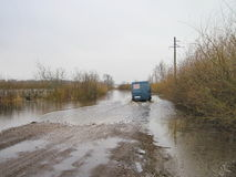Water on road in flood time Stock Image