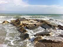 Water on rock. Taken off a beach by Pescara, Italy Stock Photos