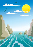 Water and rocks. Water flow between the rocks Stock Illustration