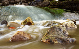 Water and rocks. Water flowing around rocks Stock Photos