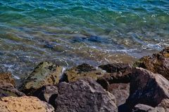 Water and Rocks, Cannes La Bocca royalty free stock photography