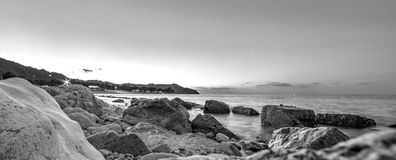 Water and rocks. Sea landscape in black and white. Water and rocks. Sea landscape stock photos