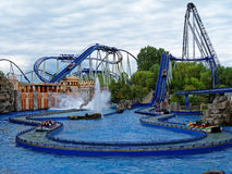 Water roller coaster scenery in operation Stock Photos