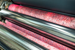 Water roller on offset printing press machine Stock Image
