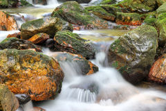 Water running over rocks - long exposure Royalty Free Stock Photography