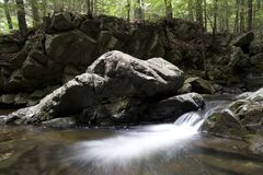 Water Running Through Rocky Terrain in the Woods Royalty Free Stock Photos