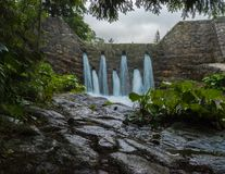 The water runs down the Bystra river at a rainy day. The water runs down a waterfall at the Bystra river on rainy day royalty free stock photo