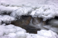 Water rushed through ice and snow. Royalty Free Stock Photography